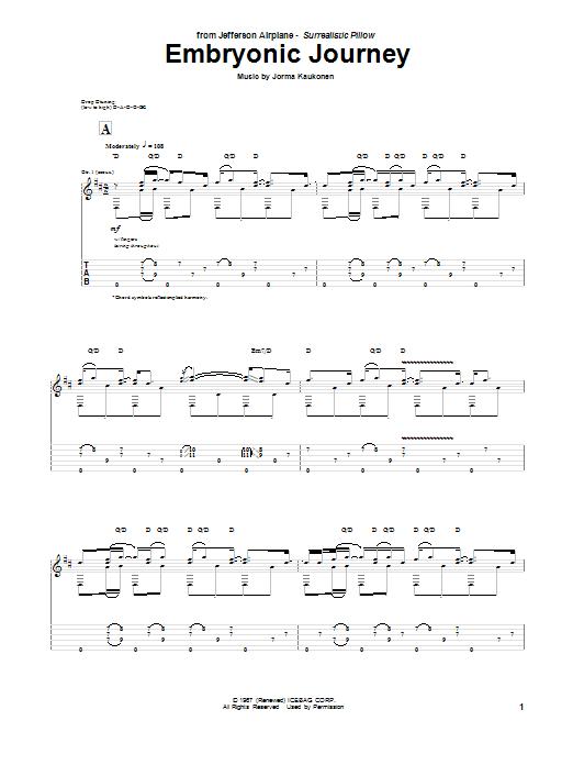 Tablature guitare Embryonic Journey de Jefferson Airplane - Tablature Guitare