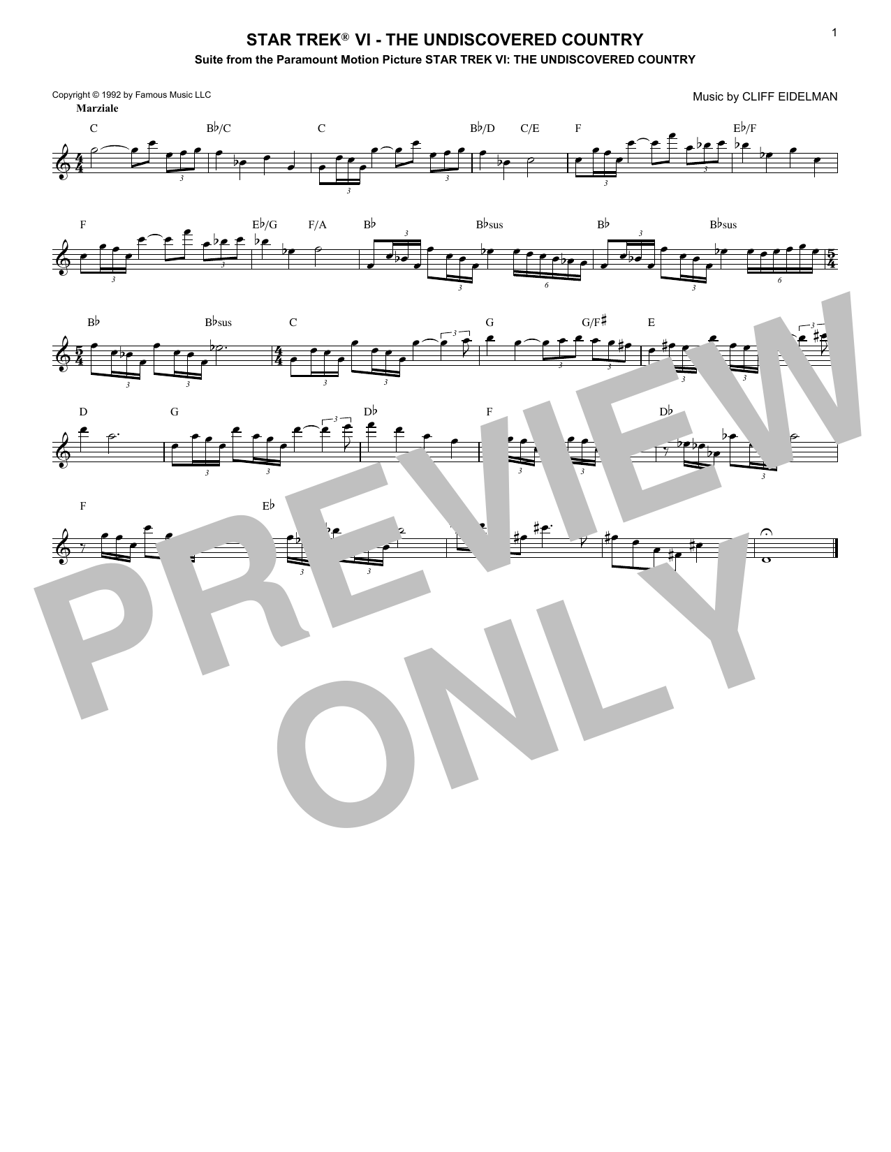 Star Trek VI - The Undiscovered Country (Lead Sheet / Fake Book)
