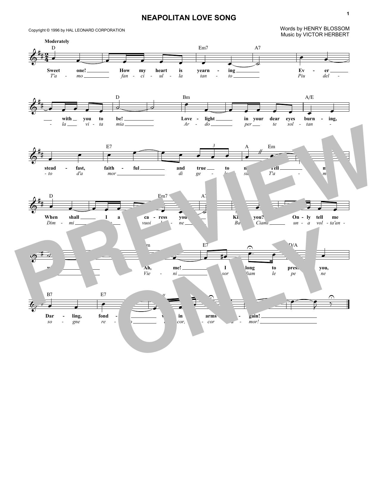 Neapolitan Love Song (Lead Sheet / Fake Book)