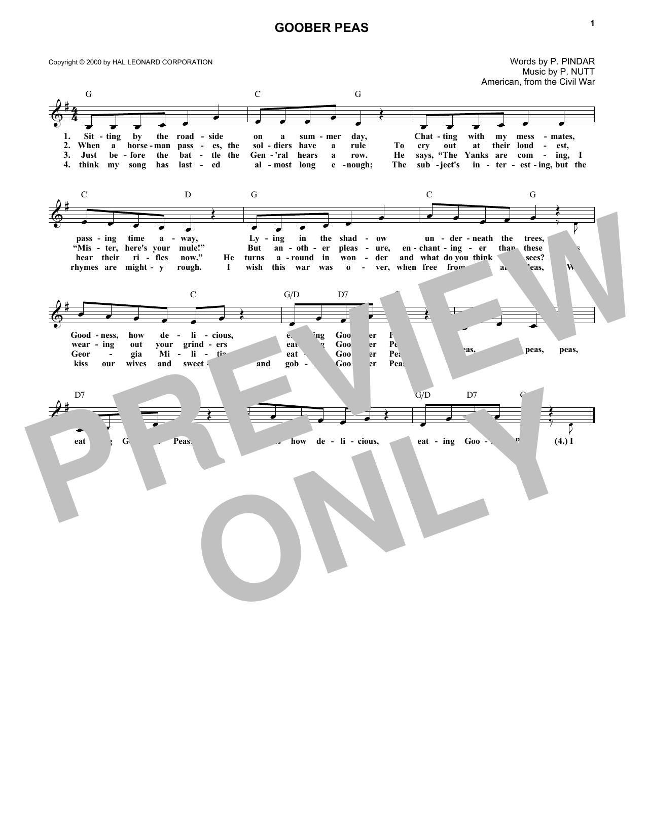 Goober Peas Sheet Music