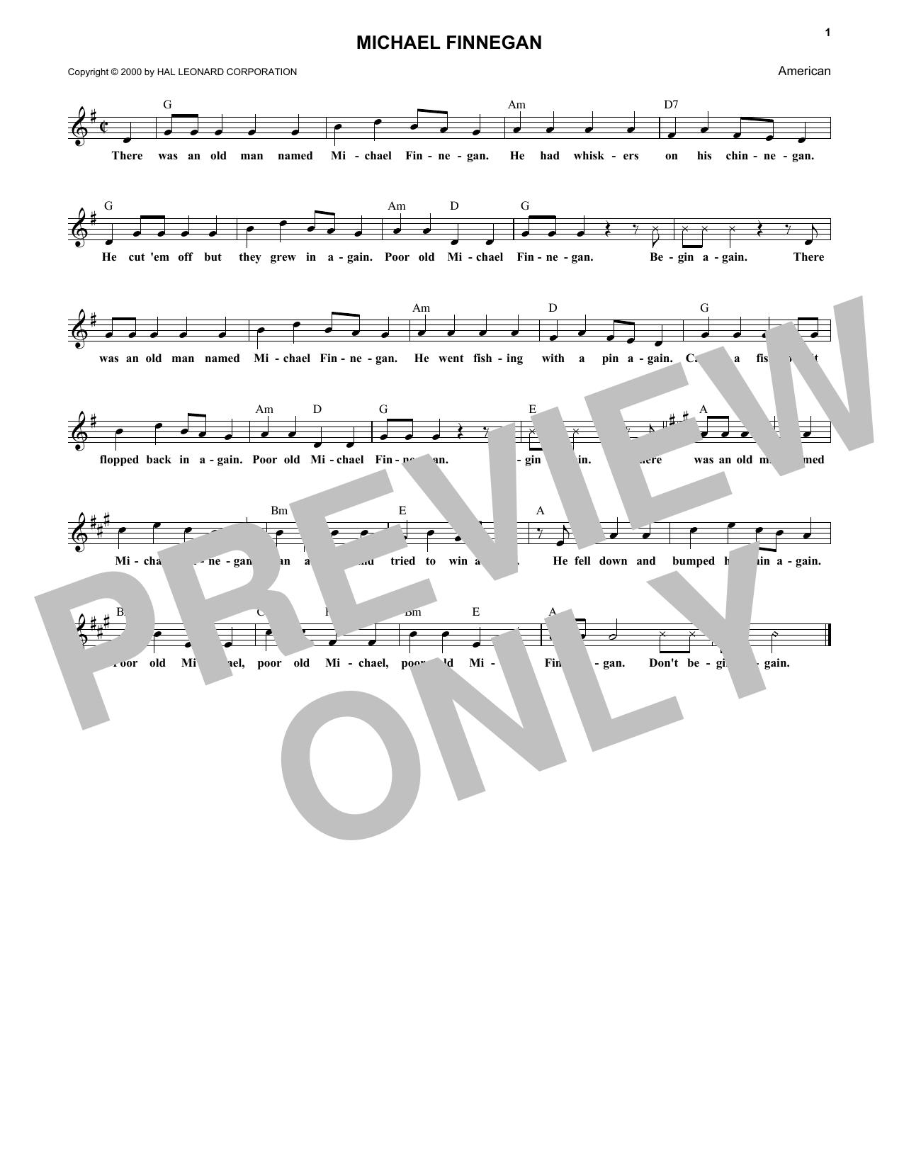 Michael Finnegan Sheet Music