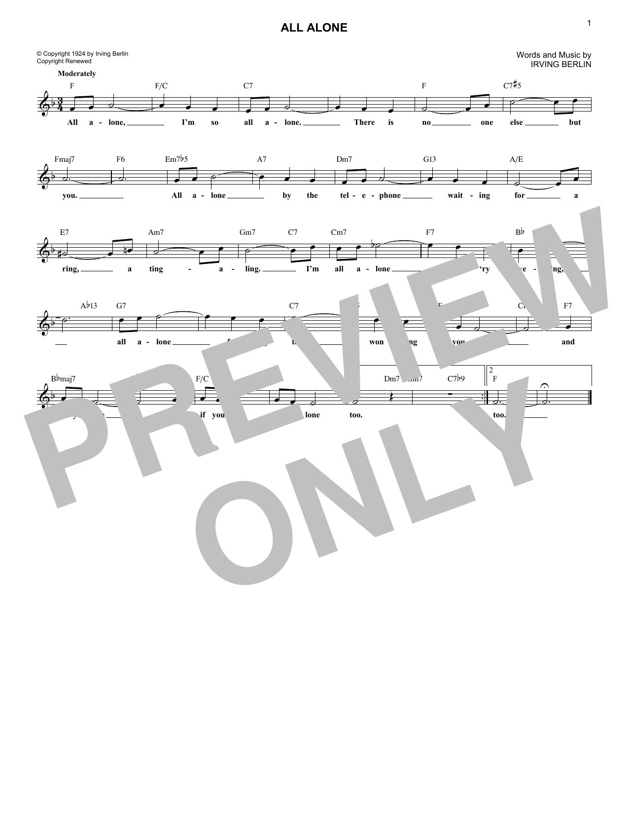 All Alone (Lead Sheet / Fake Book)