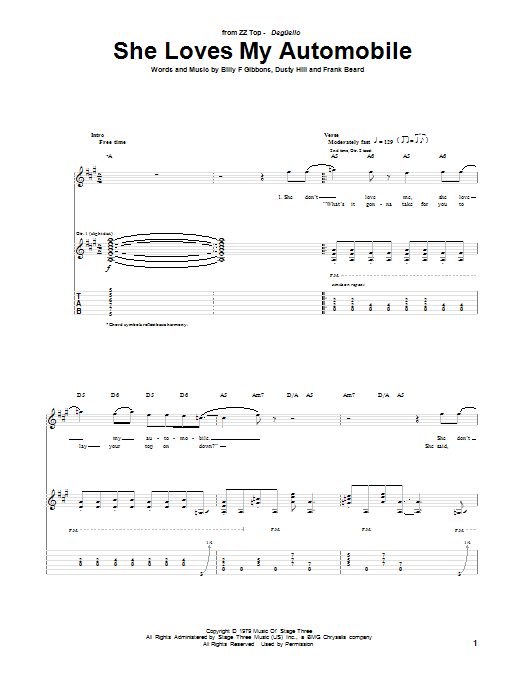 Tablature guitare She Loves My Automobile de ZZ Top - Tablature Guitare