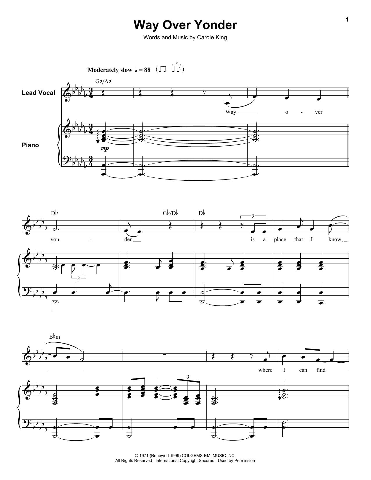 Way Over Yonder (Keyboard Transcription)