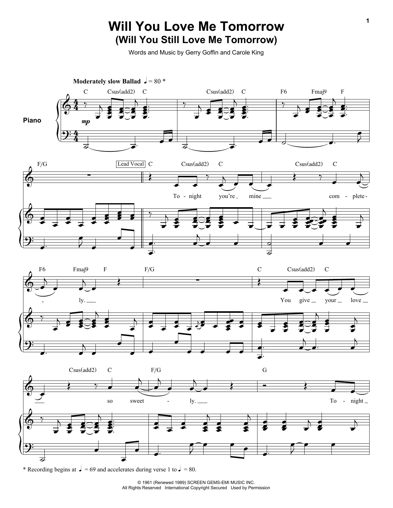 Will You Love Me Tomorrow Will You Still Love Me Tomorrow Sheet Music    The Shirelles   Keyboard Transcription