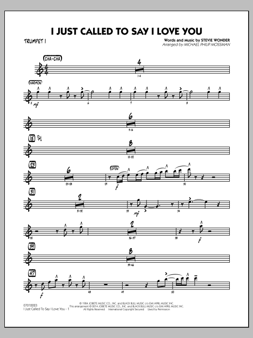 I Just Called to Say I Love You - Trumpet 1 (Jazz Ensemble)