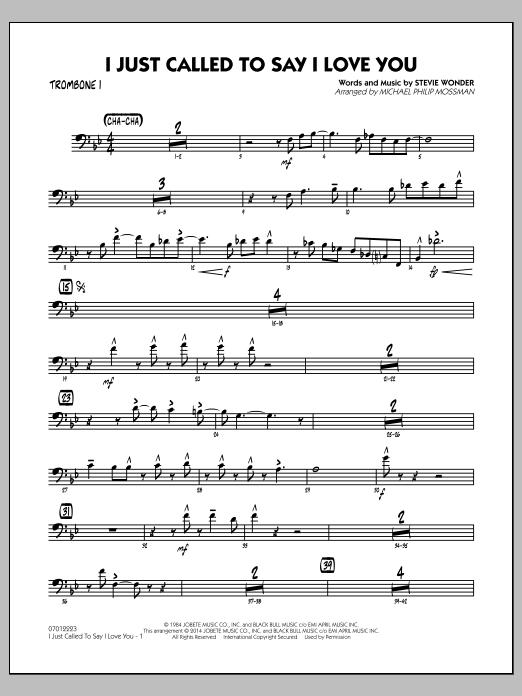 I Just Called to Say I Love You - Trombone 1 (Jazz Ensemble)