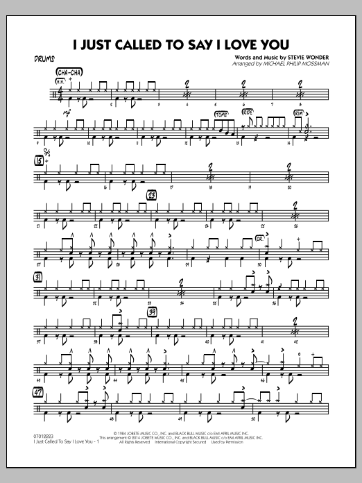 I Just Called to Say I Love You - Drums (Jazz Ensemble)