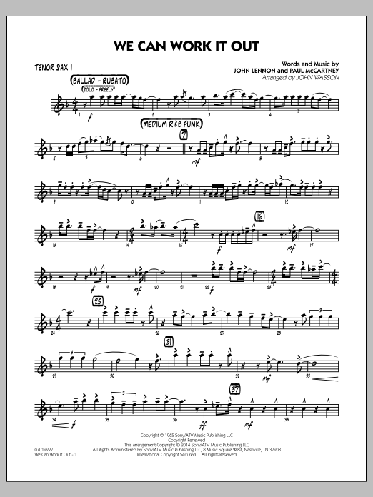 We Can Work It Out - Tenor Sax 1 (Jazz Ensemble)