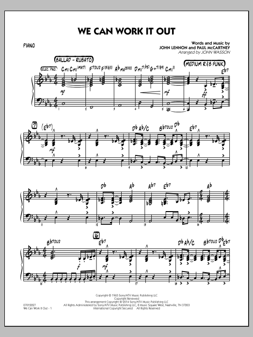 We Can Work It Out - Piano (Jazz Ensemble)