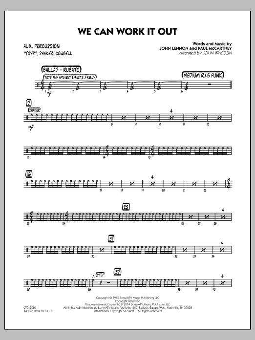 We Can Work It Out - Aux Percussion (Jazz Ensemble)