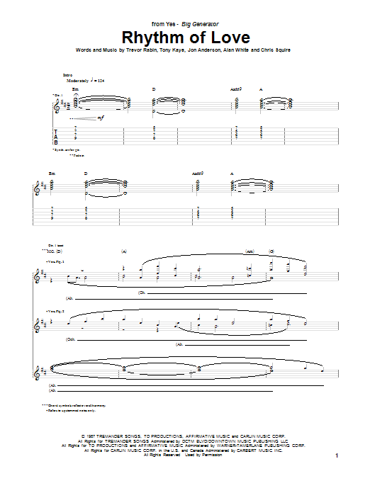 Tablature guitare Rhythm Of Love de Yes - Tablature Guitare