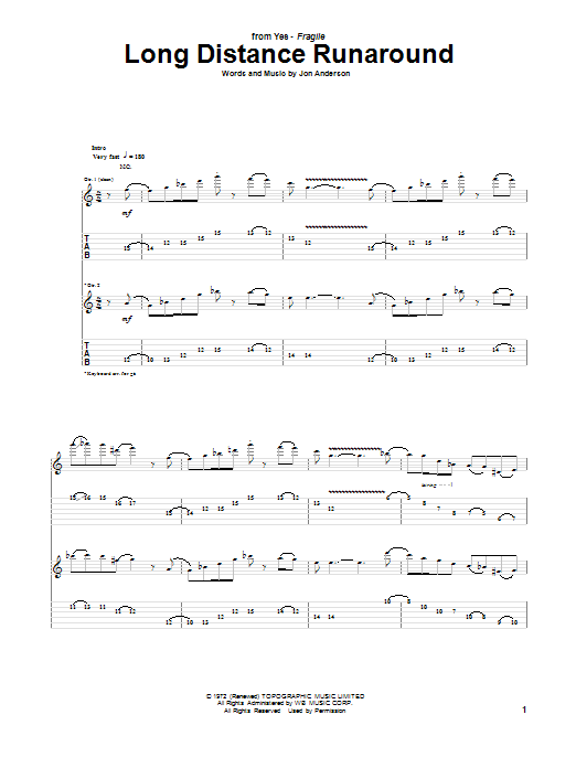 Long Distance Runaround Sheet Music
