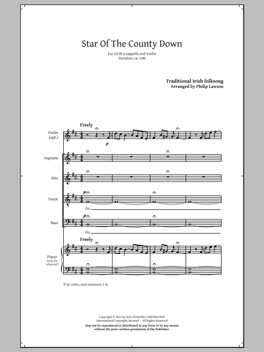 Star Of County Down (arr. Philip Lawson) Sheet Music