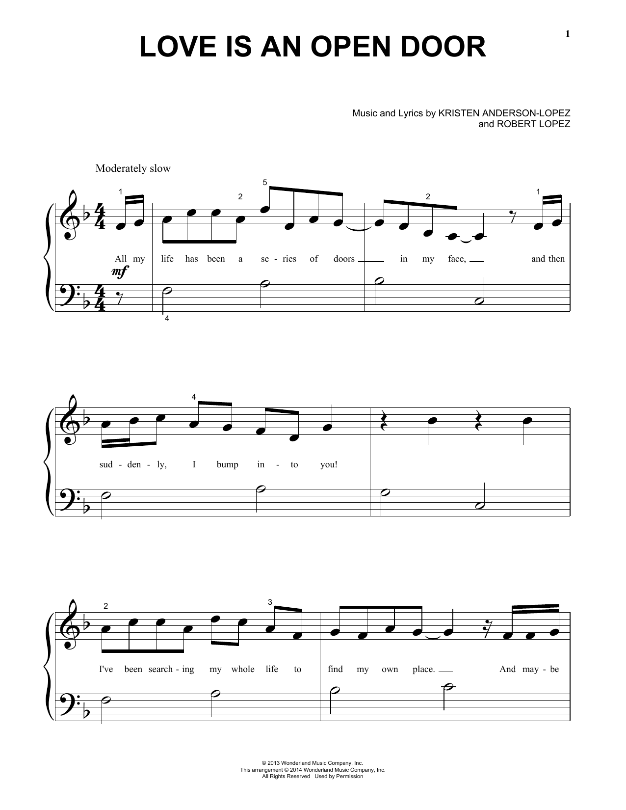 Love Is An Open Door (from Disney's Frozen) (Big Note Piano)