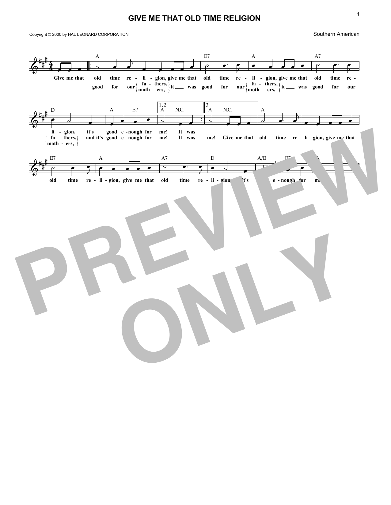 Give Me That Old Time Religion (Lead Sheet / Fake Book)