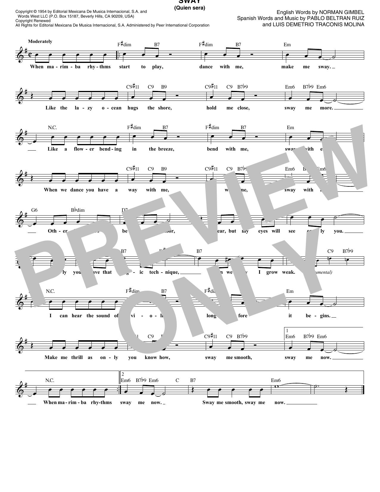 Sway (Quien Sera) (Lead Sheet / Fake Book)