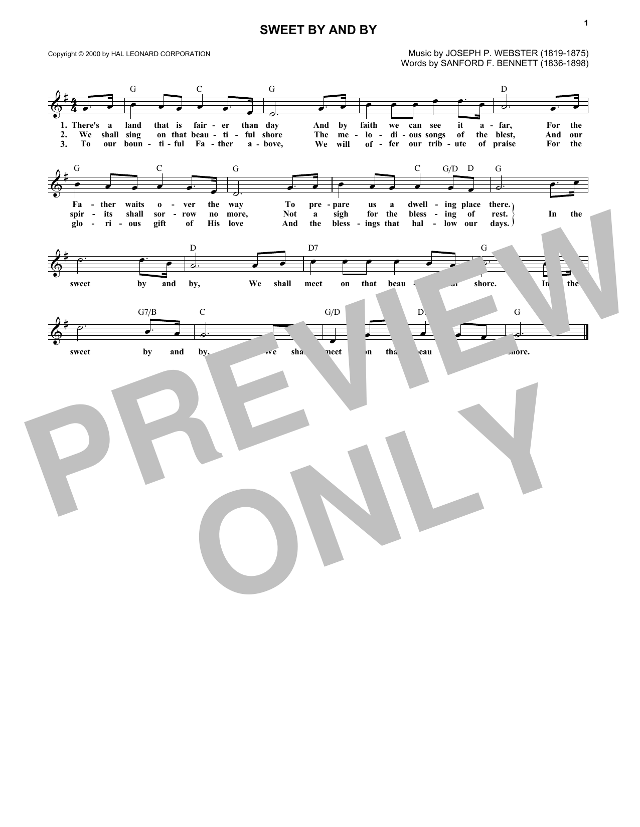 Sweet By And By (Lead Sheet / Fake Book)