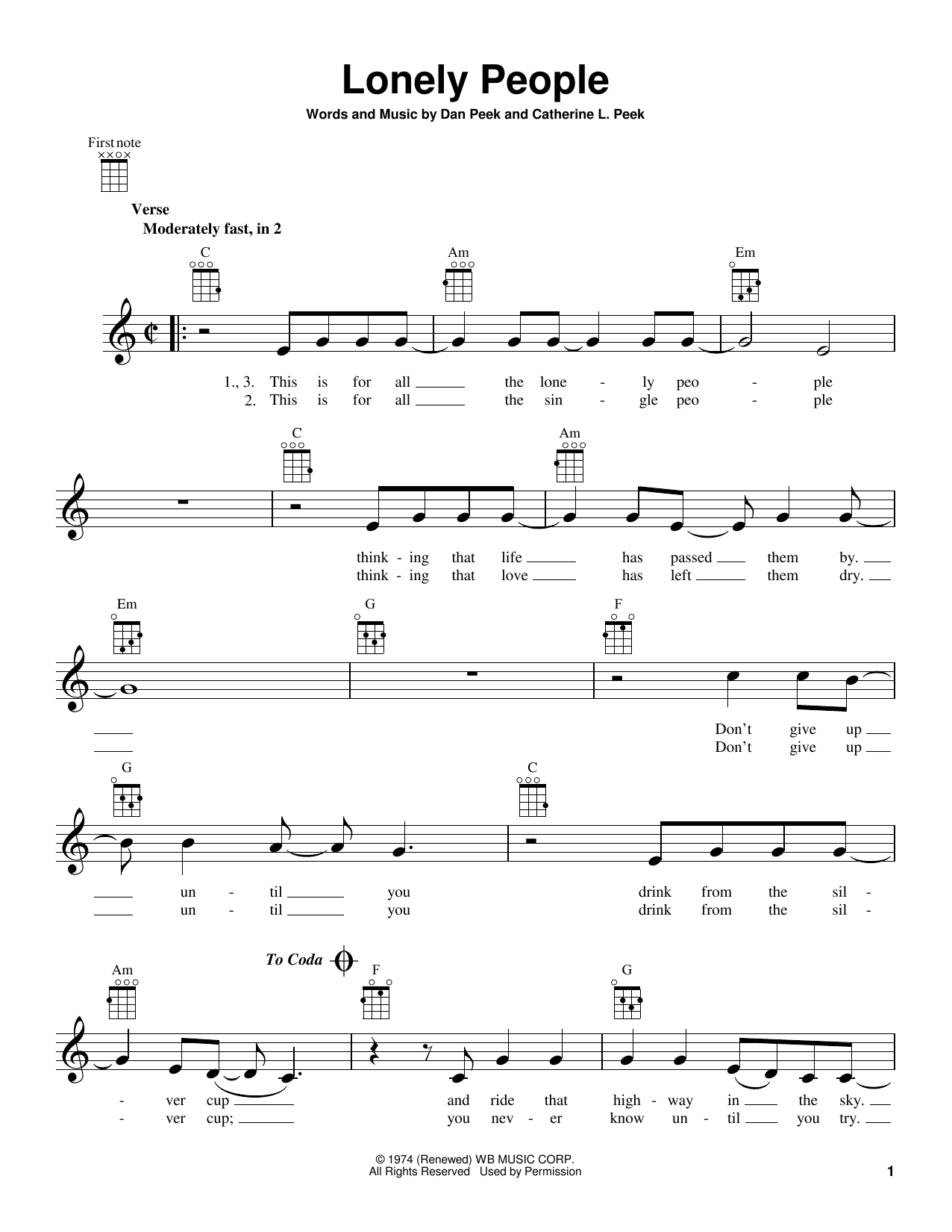 Lonely People Sheet Music