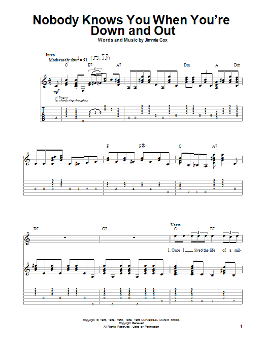 Tablature guitare Nobody Knows You When You're Down And Out de Eric Clapton - Autre