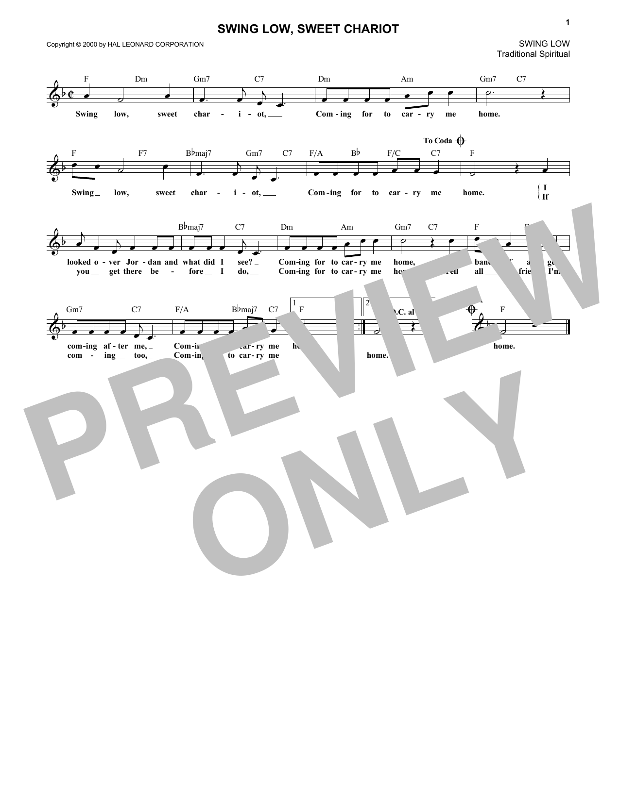 Swing Low, Sweet Chariot (Lead Sheet / Fake Book)
