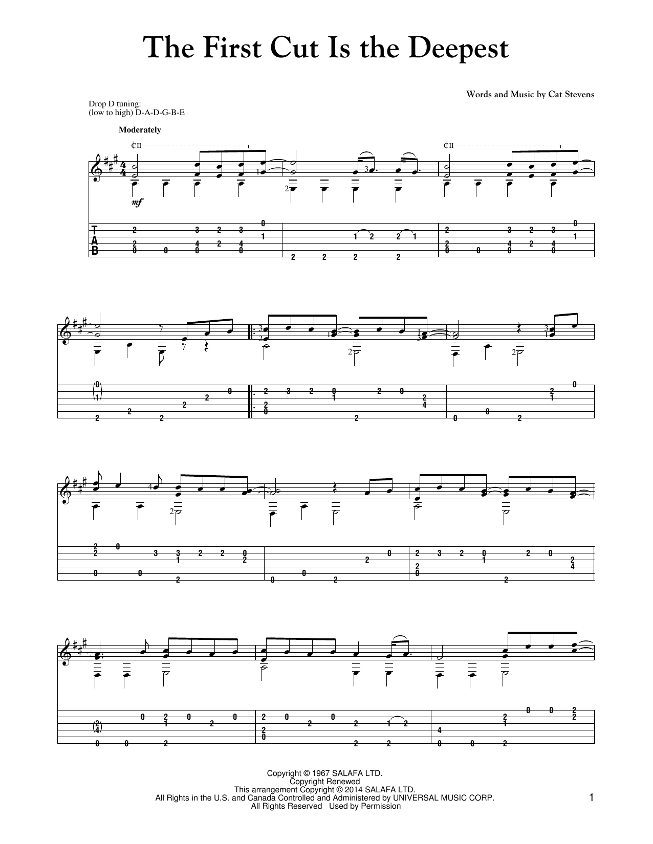 Tablature guitare The First Cut Is The Deepest de Sheryl Crow - Tablature Guitare