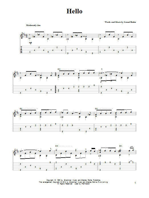 Tablature guitare Hello de Lionel Richie - Tablature Guitare