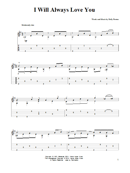 Tablature guitare I Will Always Love You de Dolly Parton - Tablature Guitare
