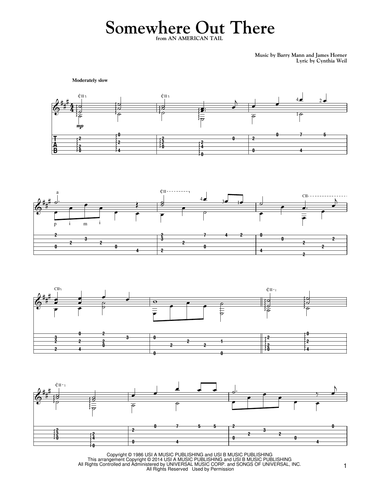 Somewhere Out There Sheet Music