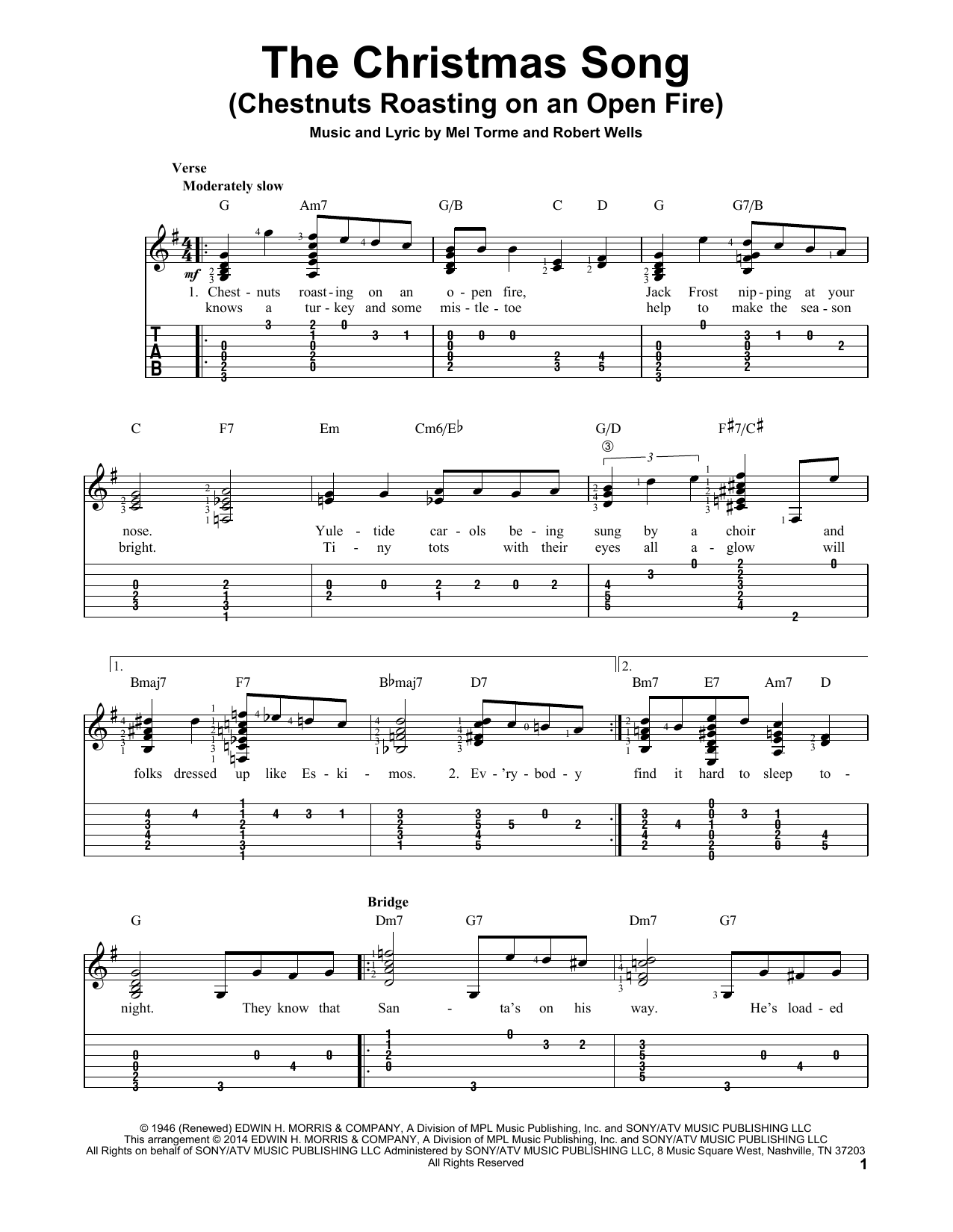 Tablature guitare The Christmas Song (Chestnuts Roasting On An Open Fire) de Mel Torme - Tablature guitare facile
