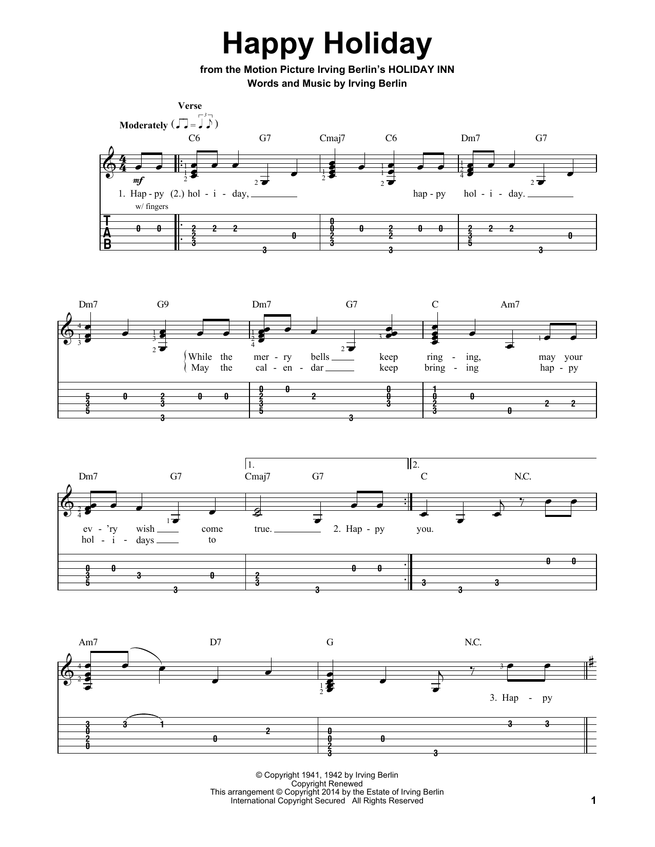 Tablature guitare Happy Holiday de Irving Berlin - Tablature guitare facile
