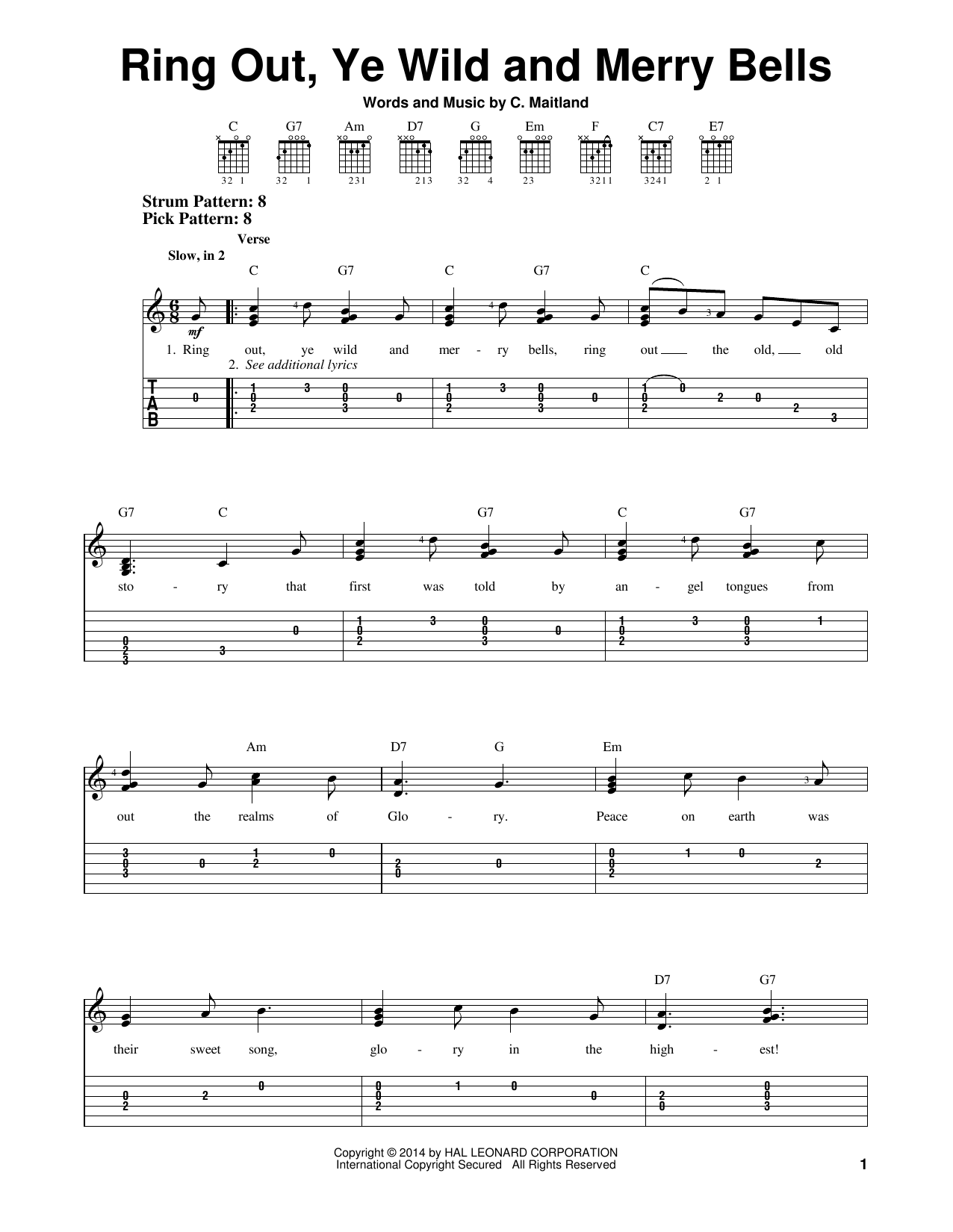 Tablature guitare Ring Out, Ye Wild And Merry Bells de C. Maitland - Tablature guitare facile