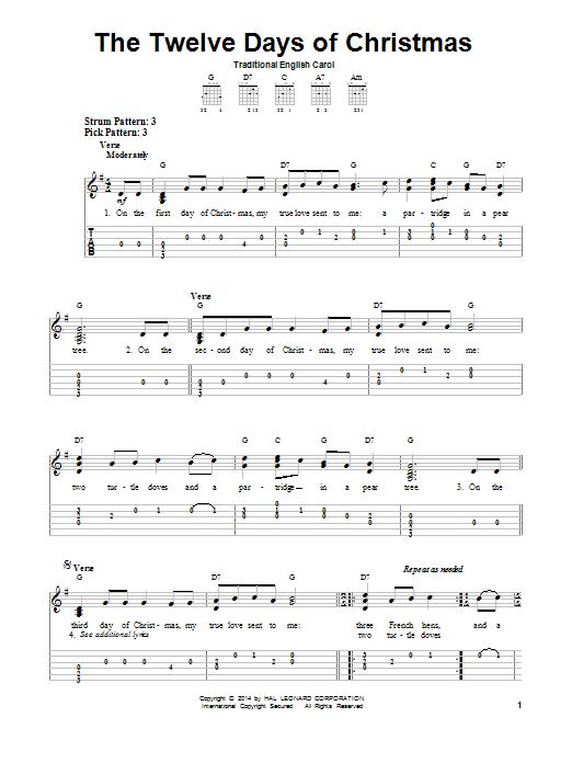 The Twelve Days Of Christmas Sheet Music | Traditional English Carol | Easy Guitar Tab