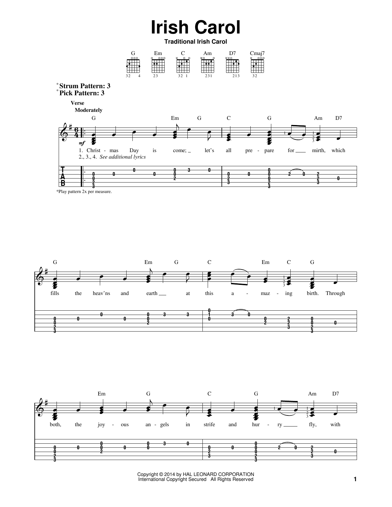 Tablature guitare Irish Carol de Traditional - Tablature guitare facile
