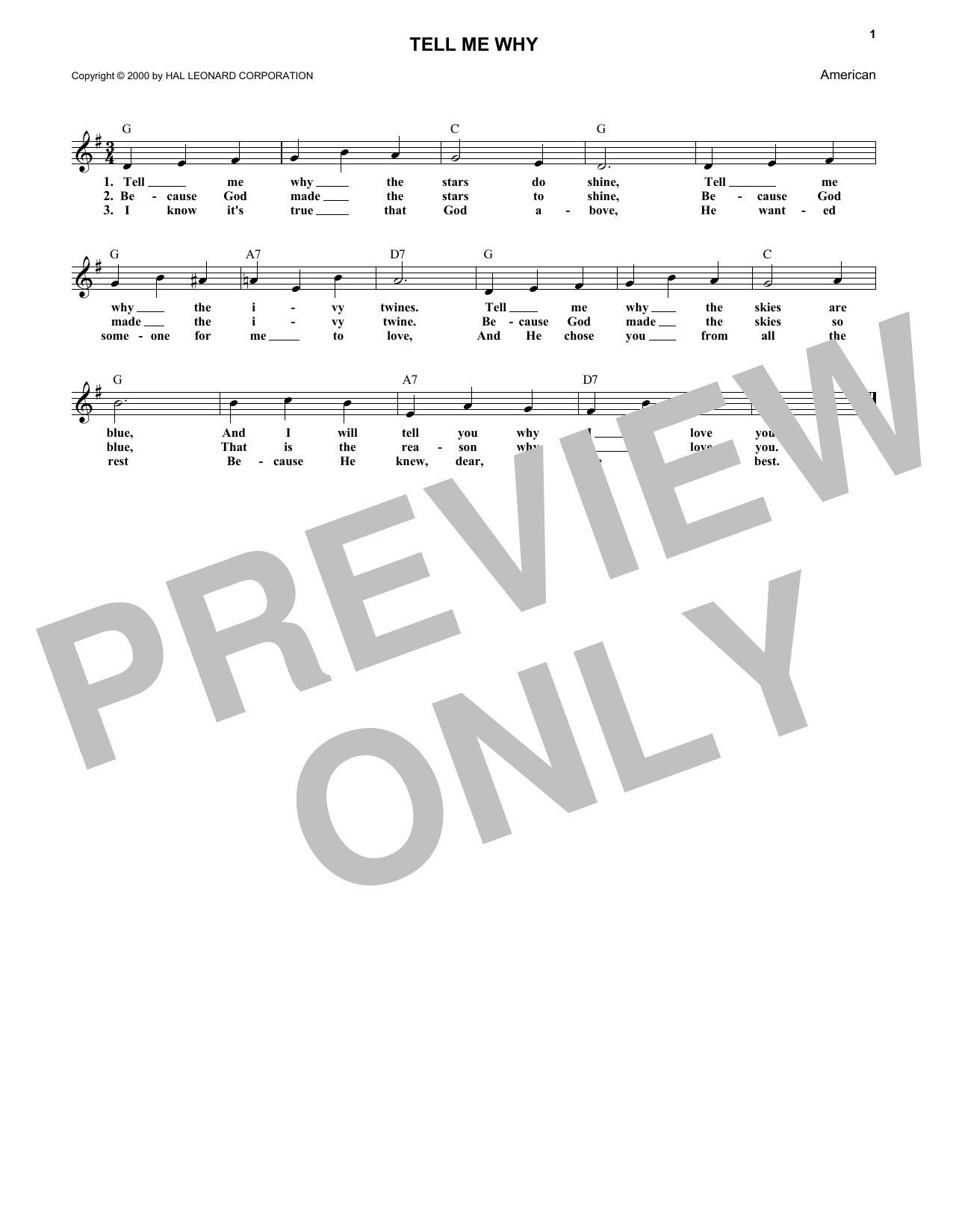 Tell Me Why (Lead Sheet / Fake Book)
