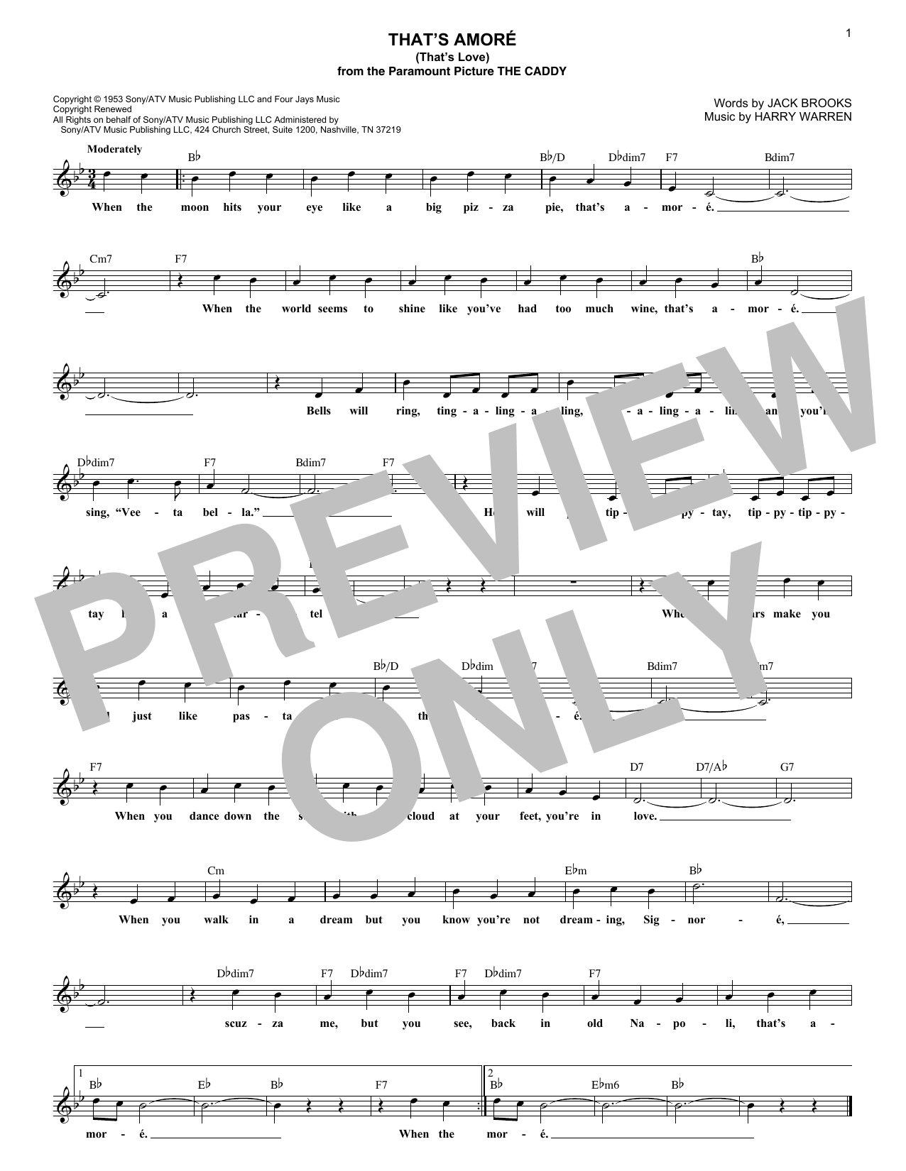 That's Amore (That's Love) (Lead Sheet / Fake Book)