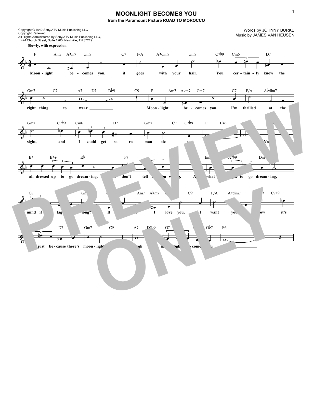 Moonlight Becomes You (Lead Sheet / Fake Book)