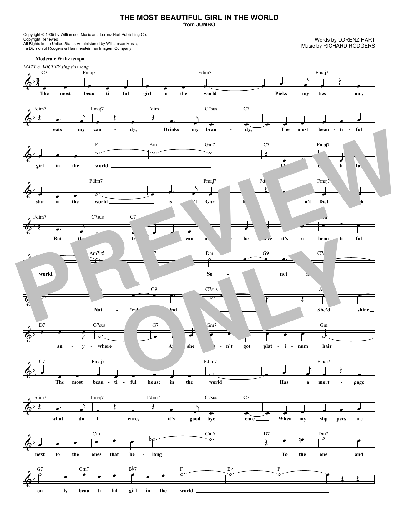 The Most Beautiful Girl In The World (Lead Sheet / Fake Book)
