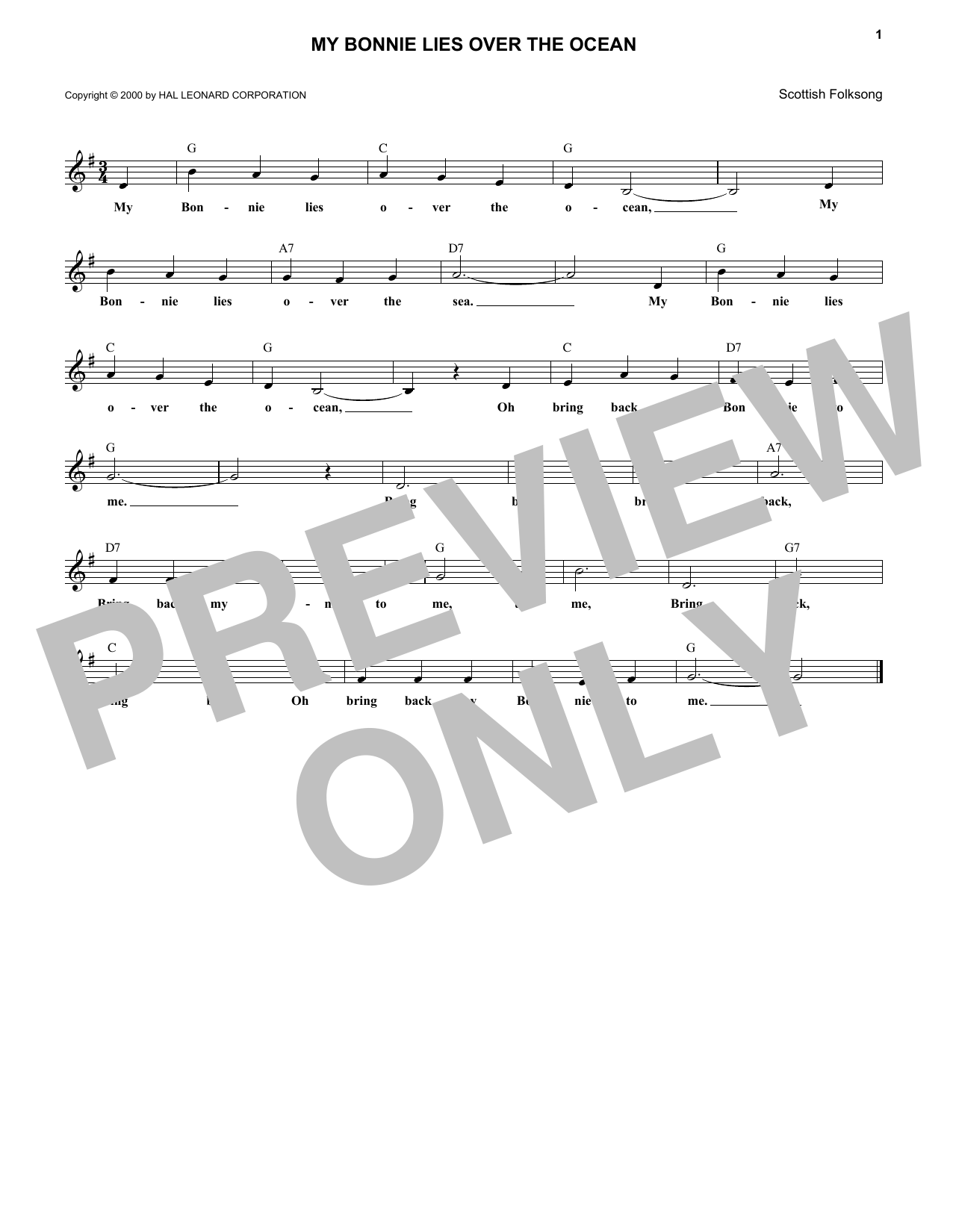 My Bonnie Lies Over The Ocean (Lead Sheet / Fake Book)