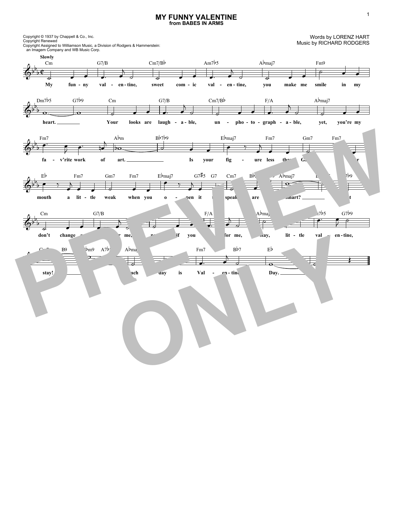 My Funny Valentine (Lead Sheet / Fake Book)