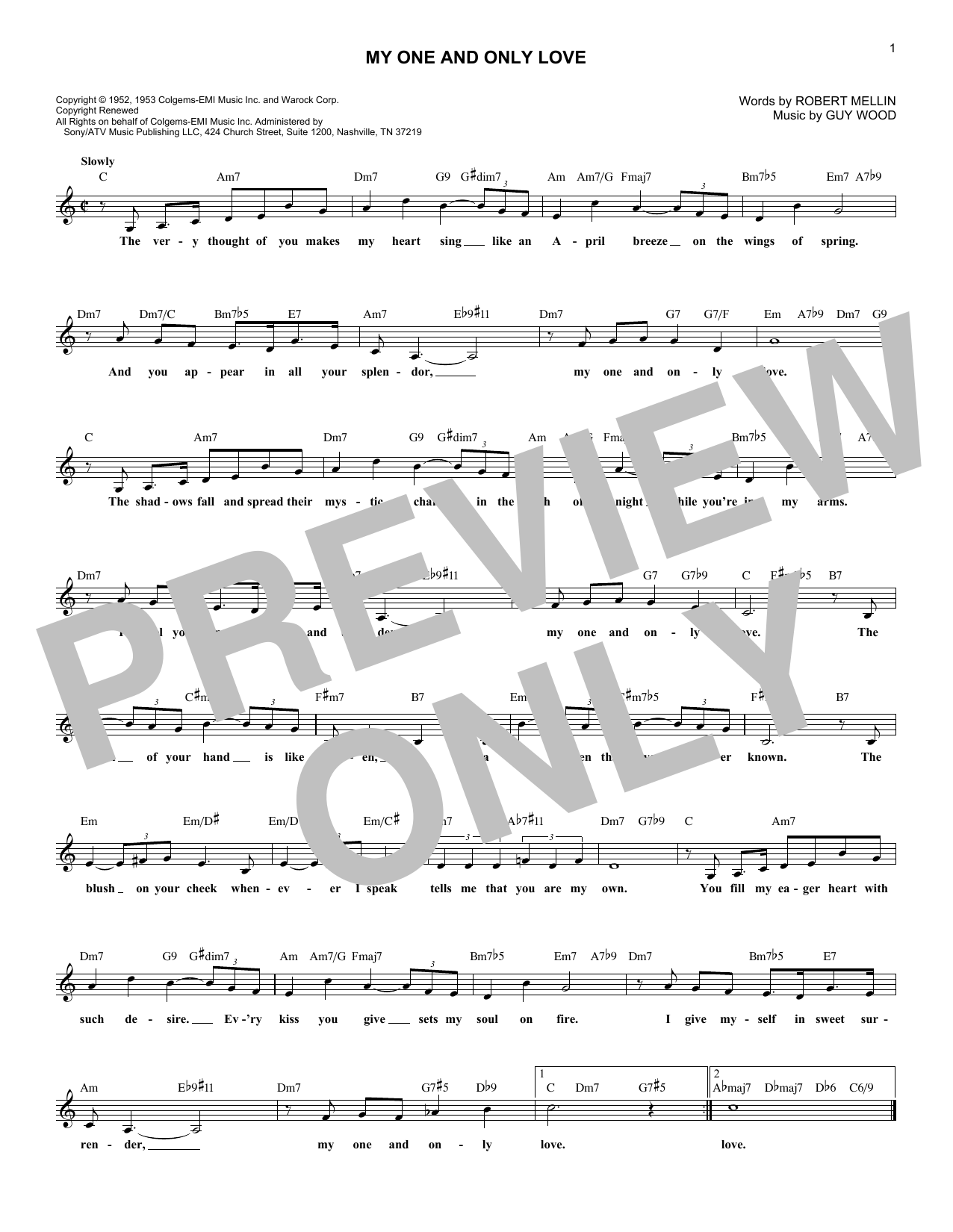 My One And Only Love (Lead Sheet / Fake Book)