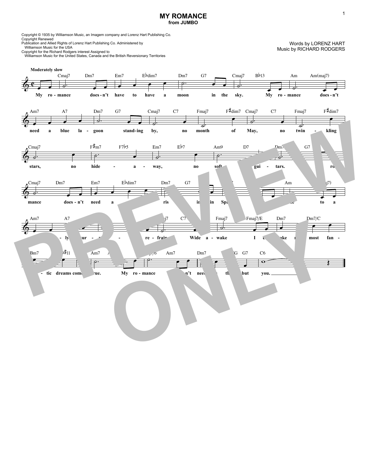 My Romance (Lead Sheet / Fake Book)
