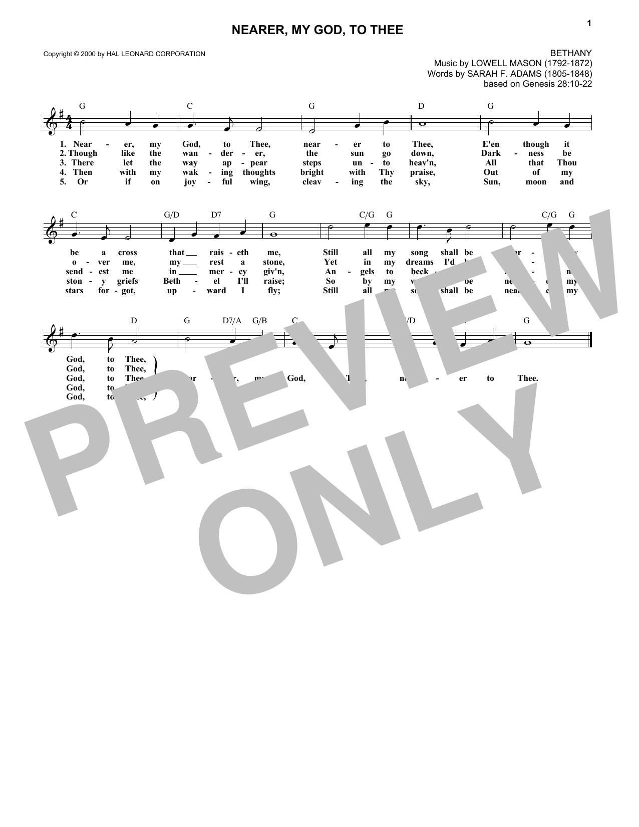 Nearer, My God, To Thee (Lead Sheet / Fake Book)