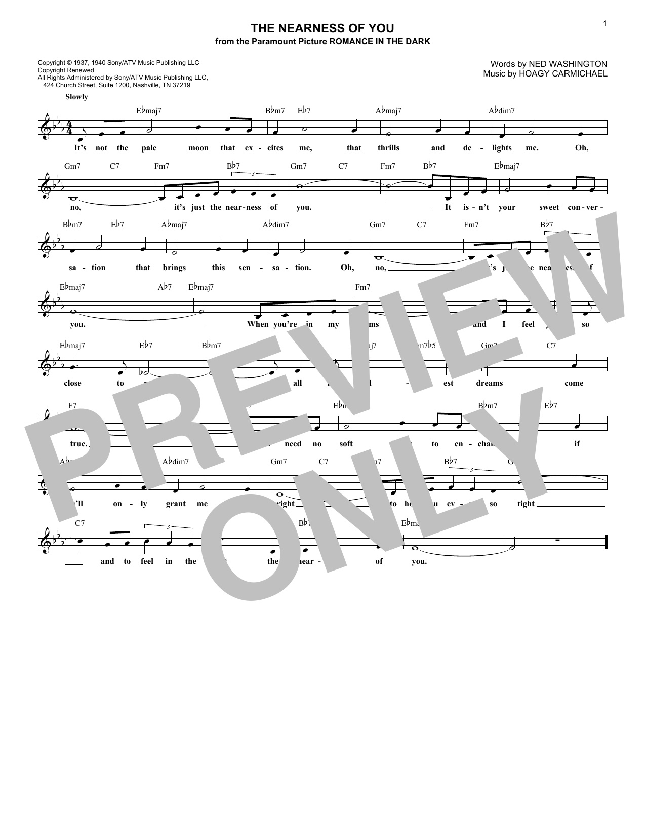 The Nearness Of You (Lead Sheet / Fake Book)