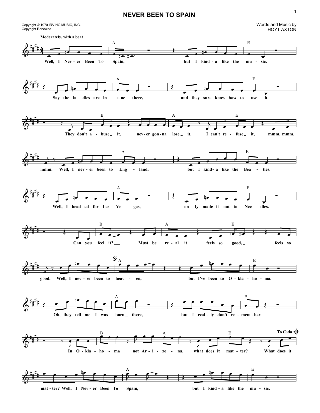 Never Been To Spain (Lead Sheet / Fake Book)