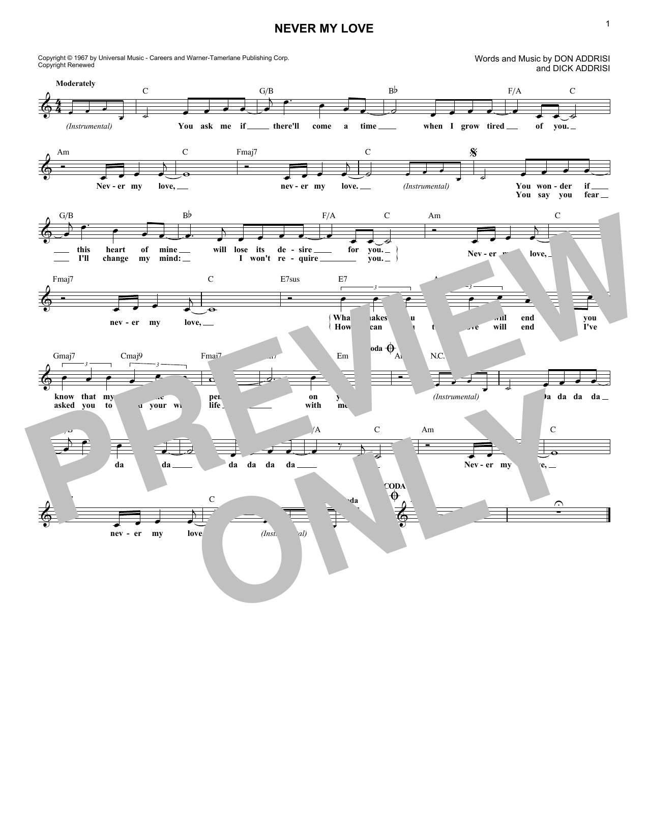 Never My Love (Lead Sheet / Fake Book)