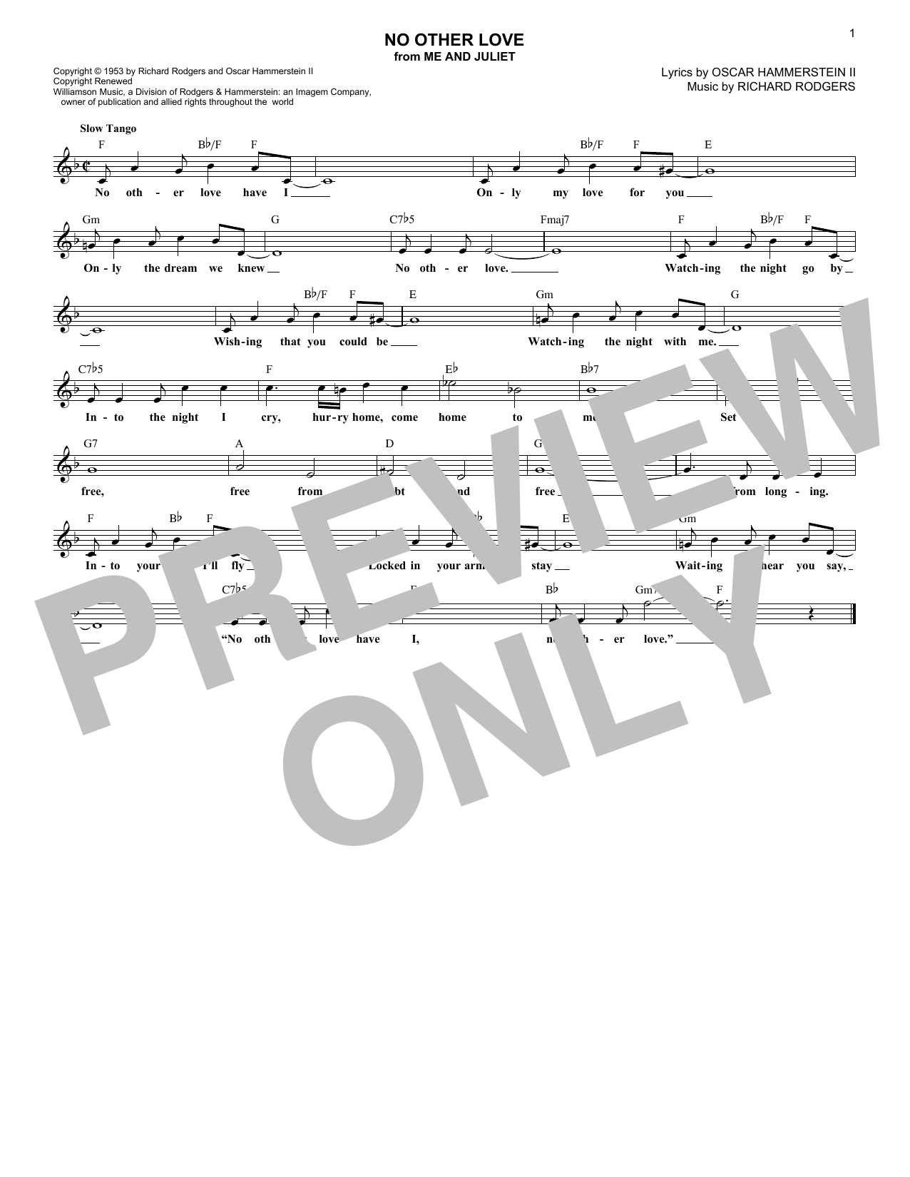 No Other Love (Lead Sheet / Fake Book)