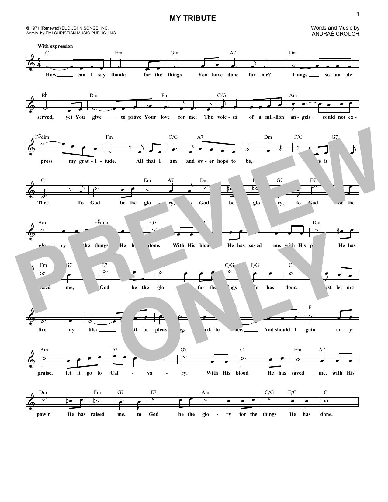 My Tribute Sheet Music