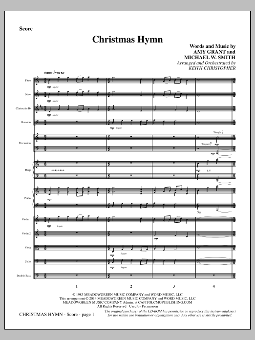 Christmas Hymn - Full Score (Choir Instrumental Pak)