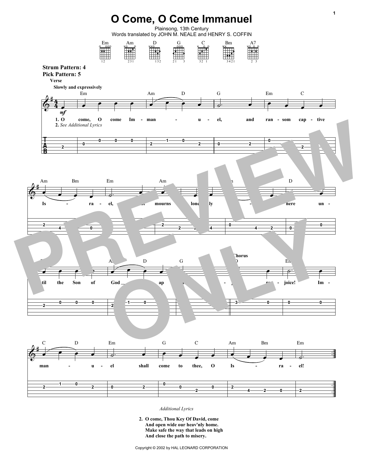 O Come, O Come Immanuel Sheet Music